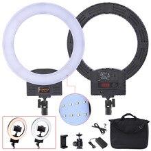 Fusitu FT 12B Bi farbe Selfie Ring Lampe 3200 5600K 240 Led Fotografische licht mit 3 Heißer Schuh ring Licht Für Kamera Telefon Video