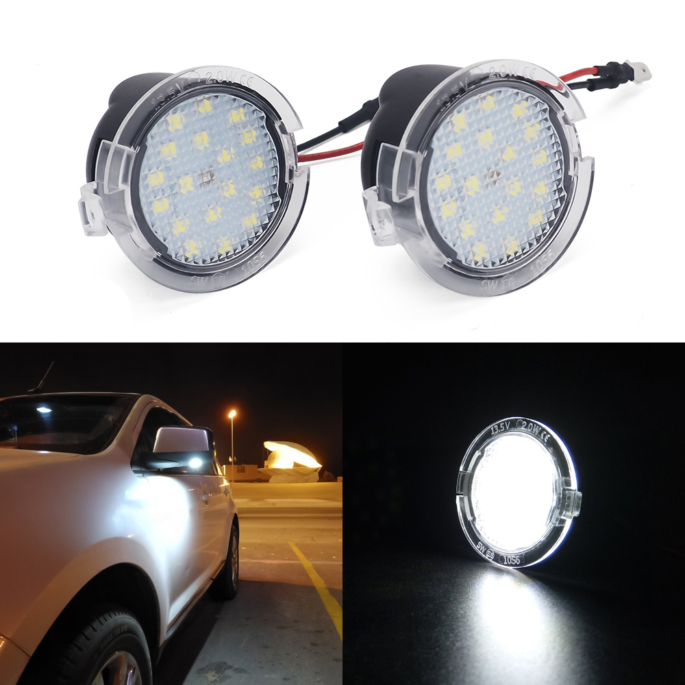 White LED Car Rear Mirror Light Welcome Light  For Ford Mondeo MK4 Fusion 2 Focus MK2 Explorer Taurus Under Mirror Puddle Light
