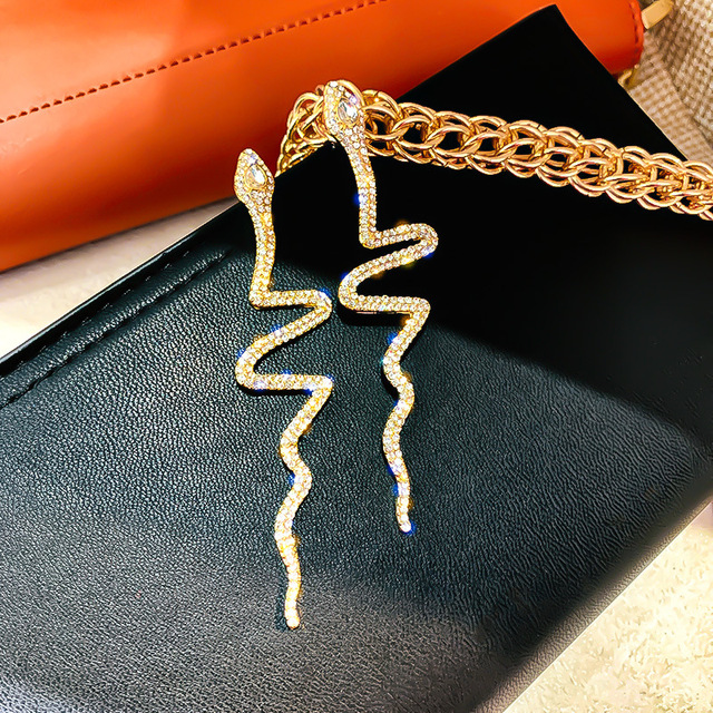 FYUAN Long Tassel Crystal Drop Earrings for Women Shiny Snake Shape Rhinestone Dangle Earring Weddings Fashion.jpg 640x640 - FYUAN Long Tassel Crystal Drop Earrings for Women Shiny Snake Shape Rhinestone Dangle Earring Weddings Fashion Jewelry Gifts