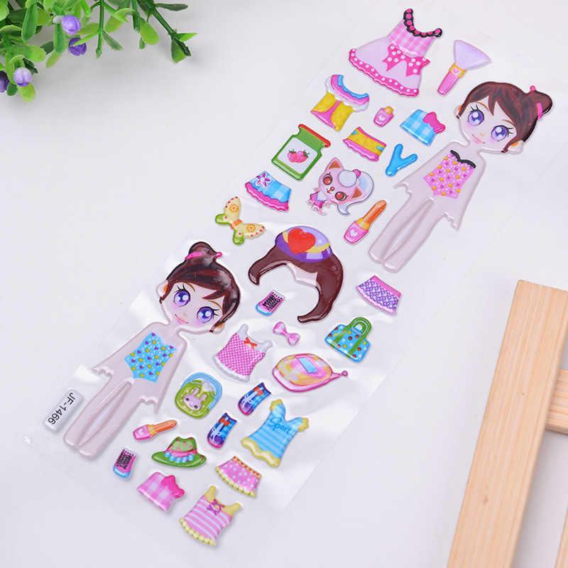 5 hojas/Set pegatinas de vestir de dibujos animados pegatinas 3D marca de moda niños niñas niños pegatinas de PVC pegatinas de burbujas de juguete