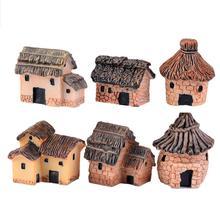 Мох, микропейзаж украшения Коттедж с тростниковой крышей дом Миниатюрный декоративные резиновые домик творческие ремесла