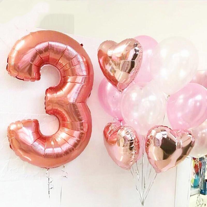 Ballons à feuille numérique 1 pièce, 40 pouces, à hélium, à 0 1 2 3 chiffres, fournitures de fête pour 1er anniversaire, décoration pour anniversaire