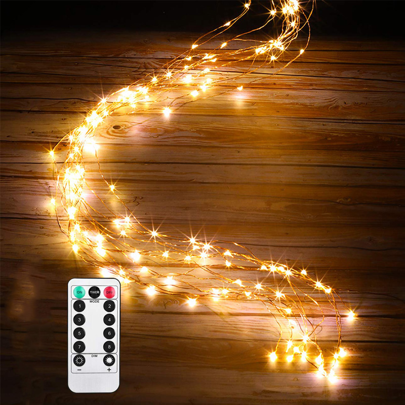 100 LED String Fairy Lights 8 Mode Battery Starry Firefly Moon Watering Can Light For Party Plants Tree Vines Decoration