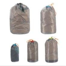 Sacs réutilisables portatifs de produit de maille petit sac de matériel de maille de cordon de voyage sac de stockage de maille en Nylon de Sports de Camping 1Pc