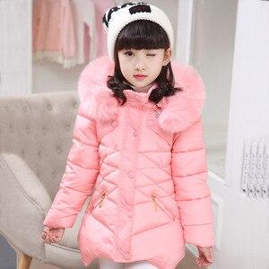 Image 3 - Abrigo para niños, prendas de vestir, sudaderas con capucha de piel de invierno, chaqueta para niñas, adolescentes, cálido, con capucha, abrigo largo de algodón acolchado grueso, 6 8 10 12 14