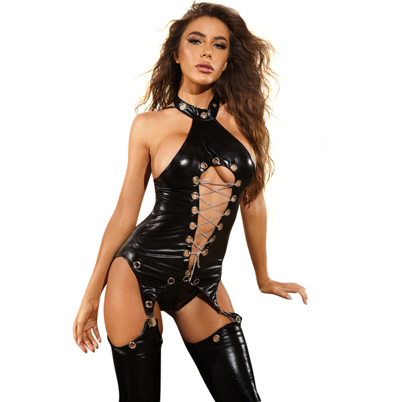 Women Sexy Glossy Faux Leather Female Bodysuit Garter Sets Chest Chain Back Erotic Halter Tops Breast Exposing Backless Bodycon