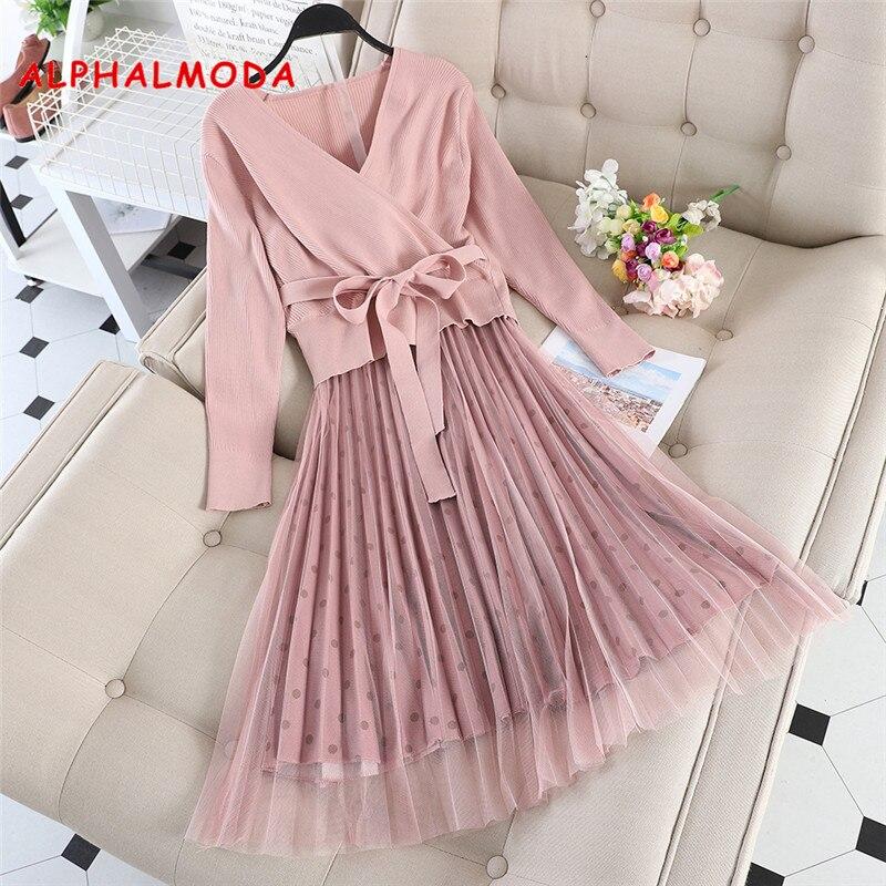 ALPHALMODA 2019 Autumn New Sashes Sweater + Polka Dot Gauze Skirt Women 2pcs Sweet Outfit V-neck Solid Sweater  Dot Skirt Set