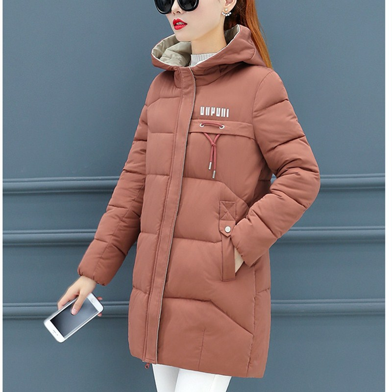 The New Han Edition In The Long Women's Down Jacket Hooded Big Yards Loose Show Thin Upset Down Jacket