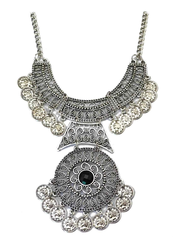 ארוך ביב שרשרת הצהרת עם פרח שבטי הודי שרשרת שחור לבן אבן מטבע תליון עגילי צוענית תכשיטים תורכי