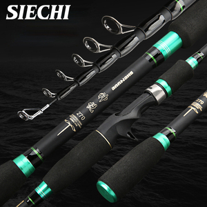 SIECHI 2019 1.8M 2.1M 2.4M 2.7MCarbon Rod Telescopic Fishing Rod Casting Spinning Rod Travel Rod Fishing