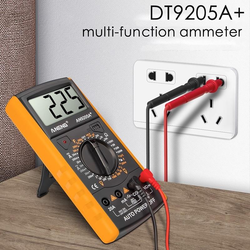 Dt9205a + multímetro digital ac/dc transistor profissional testador elétrico analógico profissional multímetro gama de automóveis multímetros