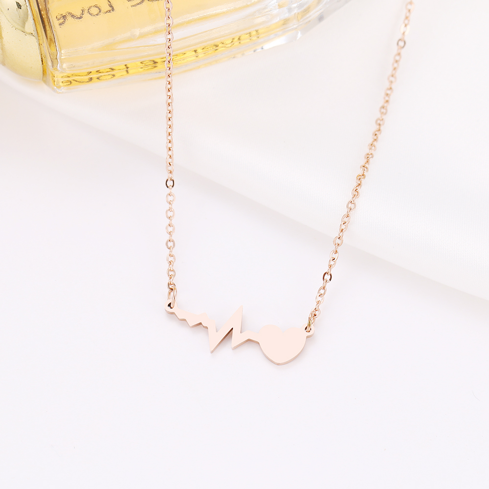 DOTIFI Stainless Steel Necklace For Women Gold And Silver Color Love Electrocardiogram Pendant Necklace Engagement Jewelry