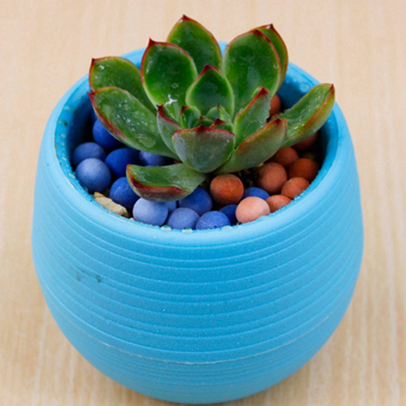 Цветок горшок мини сплошной цвет круглый смола пластик кашпо дом офис декор для кактус садоводство суккуленты двойной слой горшок