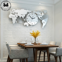 Luxury Modern World Map Wall Clock for Living Room 3D Decoration Elegant Large Metal Wall Watch Clocks