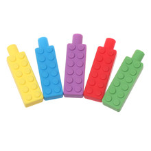 1PC New Kids Pencil Topper Teether Safe Molar Glue Chew Sensory Necklace Chewing Brick Building Blocks Shape Silicone Pendant(China)