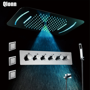 Mist Rainfall  Shower Head LED 5 Functions Light Showerhead Thermostatic Shower Faucet Mixer Embedded Ceiling Mounted Shower Set bakala bathroom led shower set 2 functions led digital display shower mixer concealed shower faucet 8 inch rainfall shower head