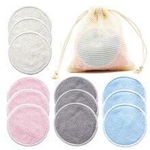 Tampons démaquillants réutilisables en bambou, 12 pièces/paquet, tampons de démaquillage lavables ronds en microfibre, outils de nettoyage du visage