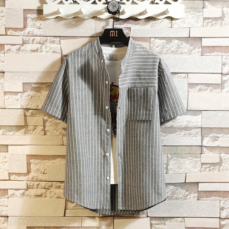 Striped 2020 Brand Summer Men's Beach Shirt Fashion Black White Short Sleeve Loose Casual Shirts Plus OVERSIZE M-4XL 5XL