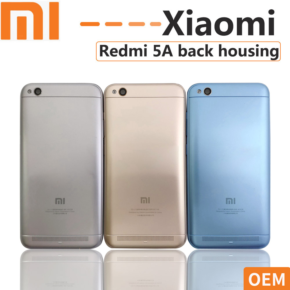 OEM Xiaomi Redmi 5A Battery Cover Rear Door Back Housing Redmi 5A With Camera Lens & Side Keys Buttons Replacement