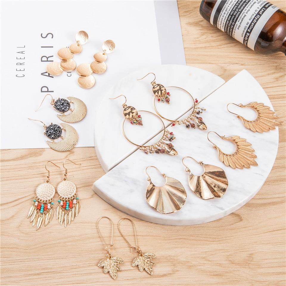 Gold color earrings bohemian statement luxury big round earring crystal acrylic handmade women geometric fringe fashion jewelry 3