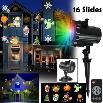 16 Patterns New Year Laser Snowflake Project Christmas LED Projector Light Waterproof Garden Lawn Lamp Remote Control Stage Lamp 16 patterns christmas led projector light new year laser snowflake projection stage light waterproof home garden lawn lamp