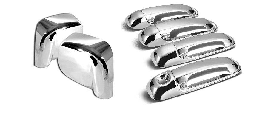 Cubierta cromada de manija de puerta y cubierta de espejo Set para 02-08 Dodge Ram 1500/03-09 Dodge Ram 2500/3500 (no para espejo para remolcar)