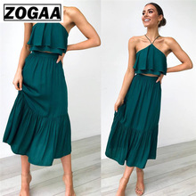 2 Pieces Set 2019 Fashion Women Sexy Halter Sleeveless Tube Crop Top +Long Skirts Casual Sweat Suits ZOGAA