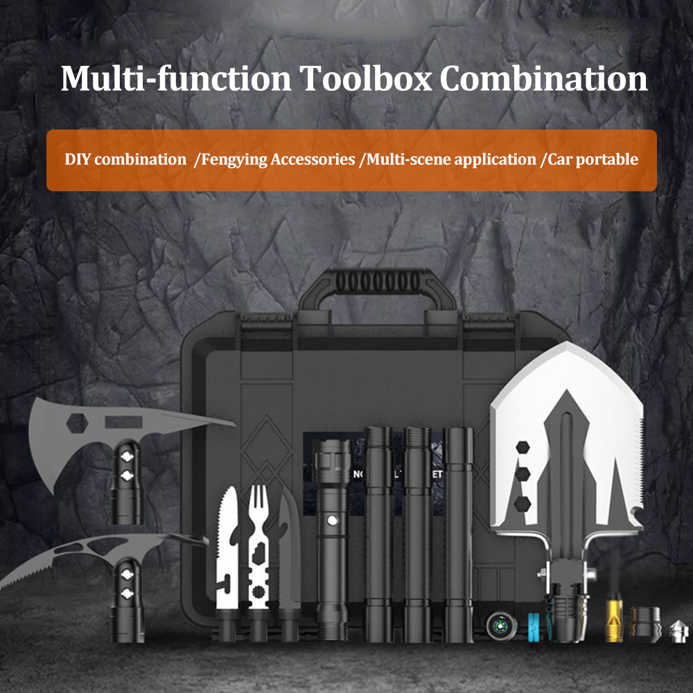 Garden Tools Military Portable Folding Shovel Set Shovel AXE Pick Flashlight Survival Spade Survival Kit Camping Outdoor Tool