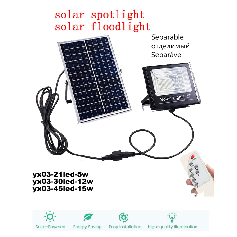 Led Solar Light Outdoor Waterproof Lighting For Garden Wall LED Four Modes Rotable Pole Solar Lamp Newest remote timer split mou