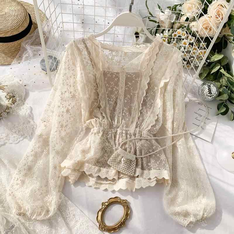 autumn lace blouse shirt ladies French retro palace lantern sleeves lotus leaf lace shirts 2019