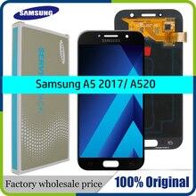 """סופר AMOLED 5.2 """"LCD לסמסונג גלקסי A5 2017 LCD תצוגת מגע עצרת מסך A520 SM 520F A520M a520 תצוגה"""