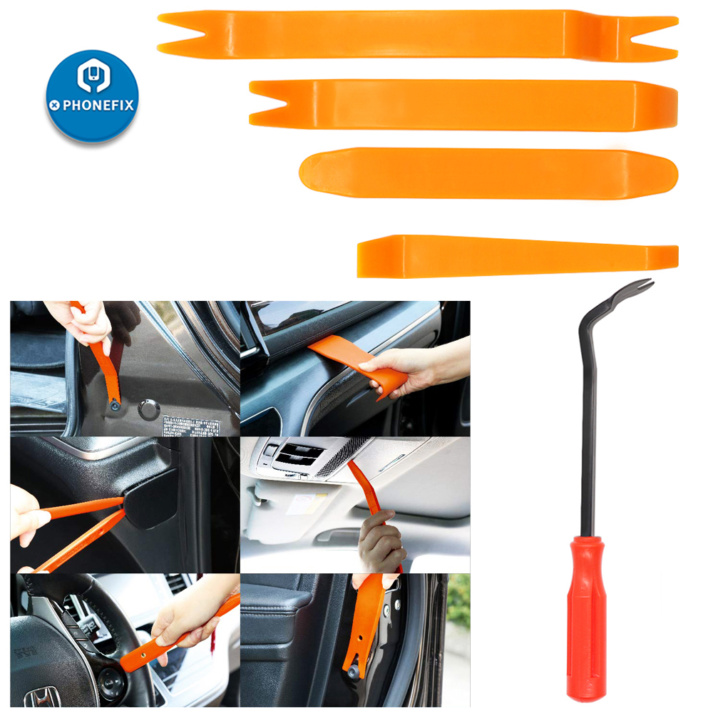 5pcs Auto Trim Removal Tool Kit Plastic Fastener Remover Pry Tool Car Door Clip Panel Trim Removal Auto Dash Radio Audio Removal