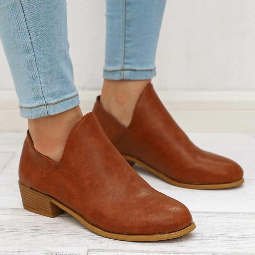 Yılan derisi sığ kısa çizmeler moda kadın kare topuklu Slip-On düz renk kısa çizme yuvarlak ayak iş ayakkabısı sonbahar kış