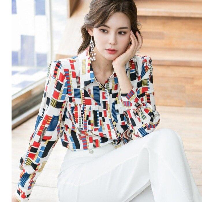 CINESSD The Sexy Office  Blouse Render Tops Women Autumn Rayon Elegant Print Plaid Long Sleeve Notched Shirt Joker Spot