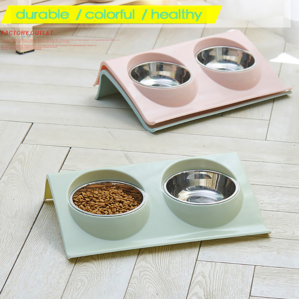 Double Bowls Pet Dog Cat Feeding Station Stainless Steel Water Food Bowls Feeder Solution For Dogs Cats Supplies