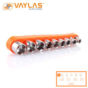 9Pcs Hex Size 5-13mm Socket Bit Set For 1/4 Inch Socket Wrench with Rubber Material Orange Color Socket Bits Storage
