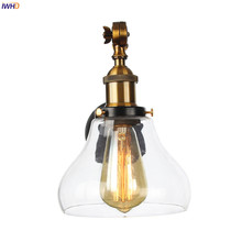 IWHD Wandlamp Edison Wall Sconce Glass Lampshade Bedroom Stair Light Loft Decor Industrial Vintage Arm Wall Lamp Applique Murale iwhd glass ball vintage wall lamp industral retro iron wandlamp swing arm wall sconce bathroom fixture led wall light up down