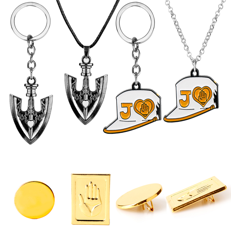 Anime JOJOS BIZARRE ADVENTURE Keyring Necklace Kujo Jotaro Hat Cap Shovel Rope Chain Pendant Metal Higashikata Josuke Jewelry