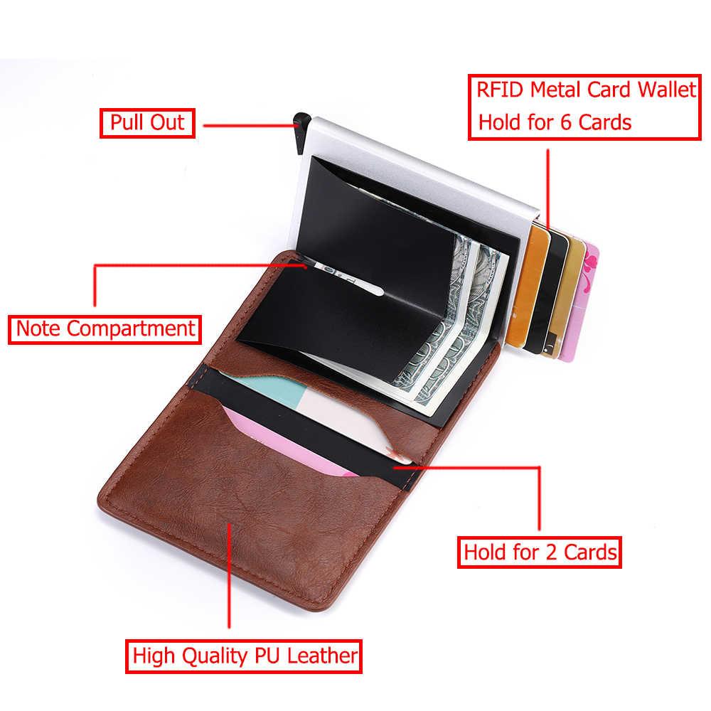 Bycobecy nowe etui na karty kredytowe RFID portfel mężczyźni kobiety Metal Vintage Aluminium crazy horse skóra pu bankowa karta identyfikacyjna etui z pudełkiem