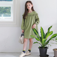 Retro 2019 New Kid Autumn Dress Fruit Green Girl Dress Loose Children Cotton Dress Mother and Me Outfit Toddler Cute Dress,#5335