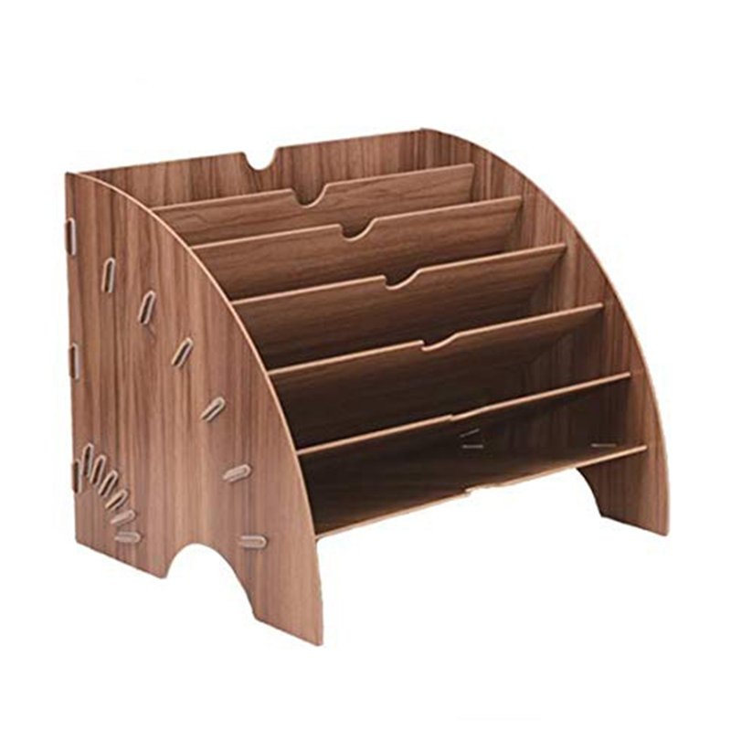Wood Fan-Shaped File Sorter Organizer 6 Slots For Office Desktop Magazine File Organizer