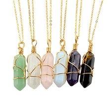 2021 moda Opal kamień sześciokątny cylindryczny kryształowy naszyjnik, naturalny kolorowy wisiorek akcesoria, czeska biżuteria damska