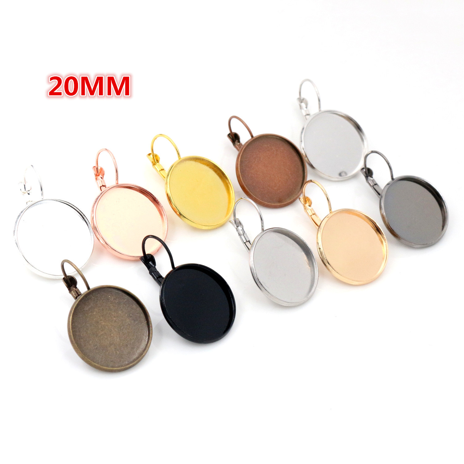 20mm 10pcs/Lot Classic 10 Colors Plated French Lever Back Earrings Blank/Base,fit 20mm Glass Cabochons,buttons;earring Bezels