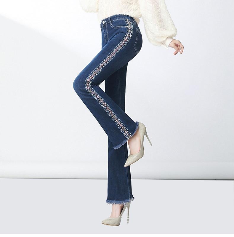 KSTUN FERZIGE Women Jeans High Waist Stretch Blue Flared Pants Side Embroidered Hand Beads Bell Bottoms Sexy Push Up Woman Trousers 36 13