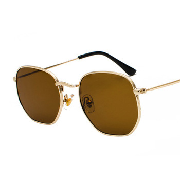 2020 Men Hexagon Sunglases Women Brand  Driving Shades Male Sunglasses For Men's Glasses Gafas De sol UV400 - Gold Tea