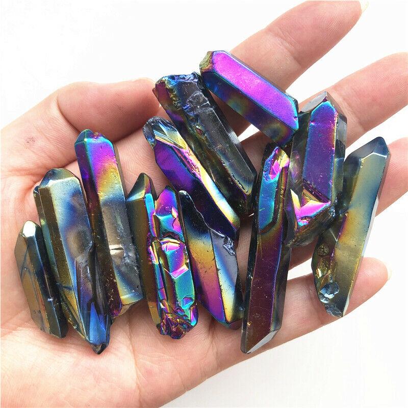 50g/1pc Rainbow Titanium Aura Lemurian Seed Quartz Crystal Stones Point Specimen Quartz Crystals