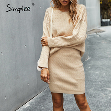 Simplee Solid Color Two-piece Dress Caual Women Knitted Skirt Suits Autumn Winter Office Lady Suit O-neck Female Sweater dress