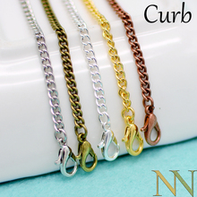 50 pcs   18 & 24 Inch Curb Chain Necklace, Chunky Curb Necklace Chain Bulk Wholesale   Silver Plated/Gold/Brozne/Copper/Rhodium