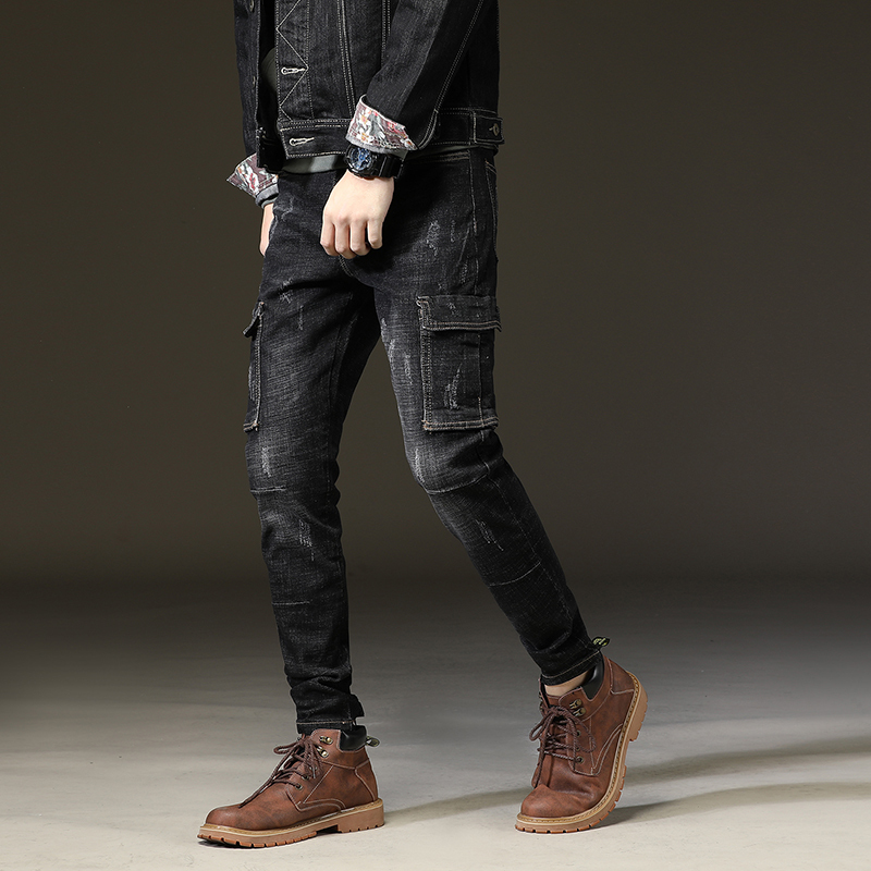 Autumn New Multi Pockets Mens Hip Hop Denim Pencil Pants Scratched Stretchy Jeans Male Full Length Casual Skinny Jeans Trousers