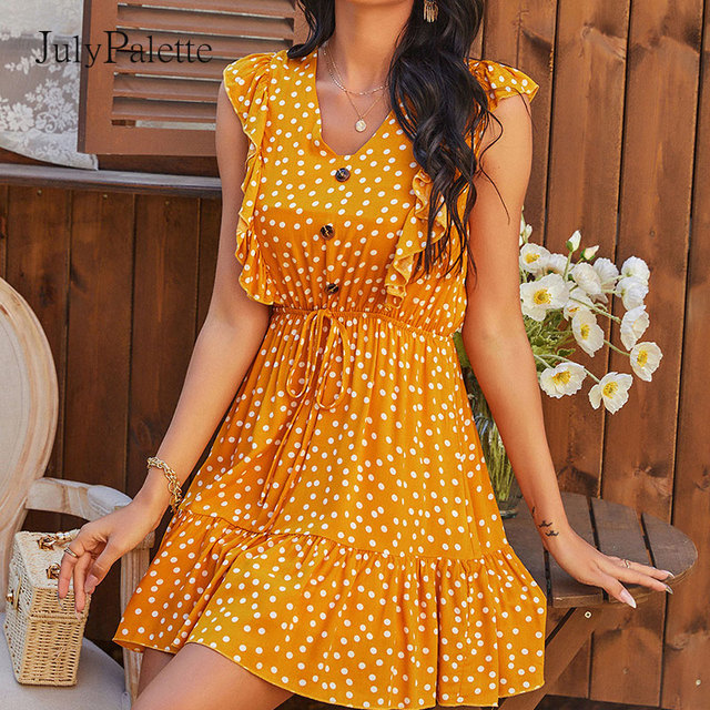 Julypalette Yellow V-neck Ruffles Women's Dress Bohemian Summer Sleeveless Dot Printed Beach Sundress Lace up Female vestidos 1